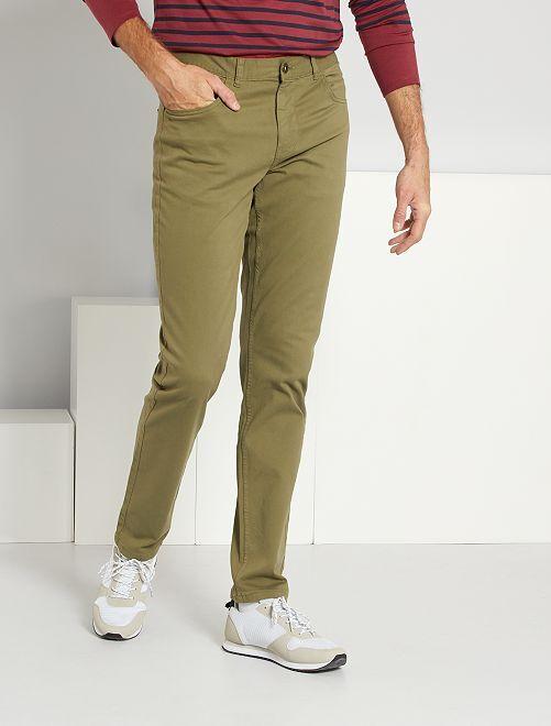 Pantalon fitted 5 poches L38 +1m95                                         kaki