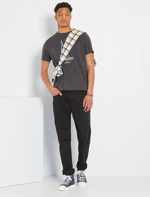 Pantalon fitted 5 poches L38 +1m95                                         noir Homme de plus d'1m90