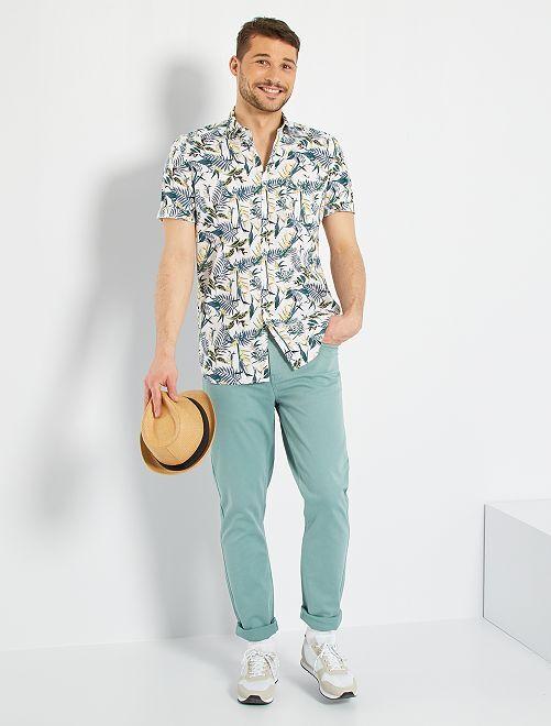 Pantalon fitted 5 poches L38 +1m95                                                     vert pâle