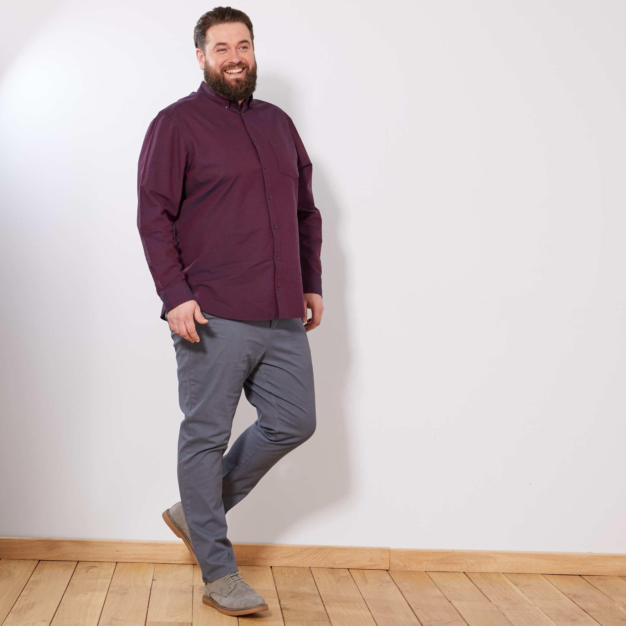 pantalon fitted micro motif grande taille homme gris. Black Bedroom Furniture Sets. Home Design Ideas