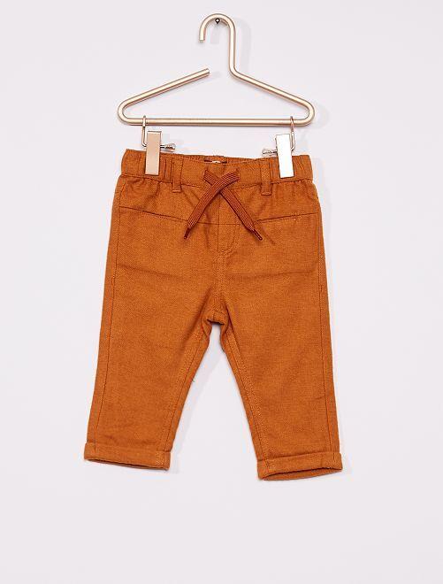 Pantalon flanelle éco-conçu                                                                 marron