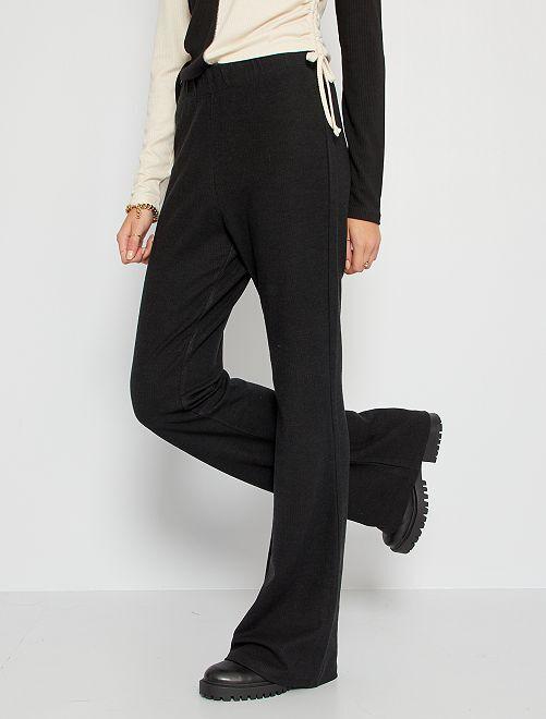 Pantalon flare en maille côtelée                             noir