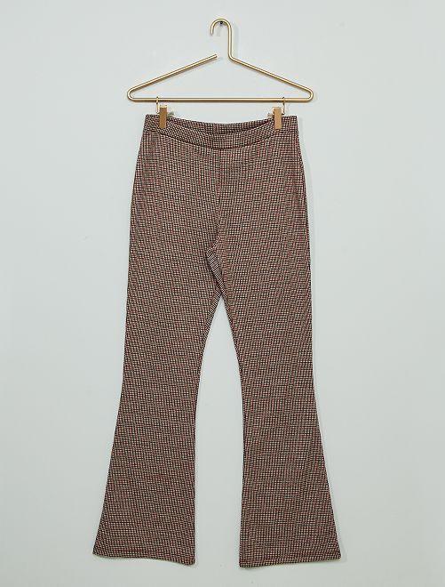 Pantalon flare 'pied de poule' en maille milano                                         carreaux rouge