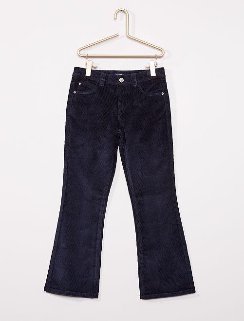 Pantalon flare velours côtelé                                                                 marine