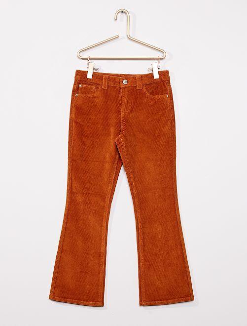 Pantalon flare velours côtelé                                                     orange