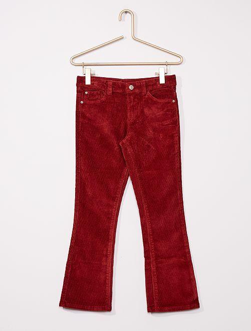 Pantalon flare velours côtelé                                                                 rouge