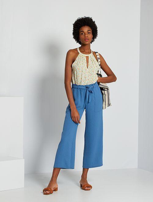 Pantalon fluide 7/8ème                             bleu
