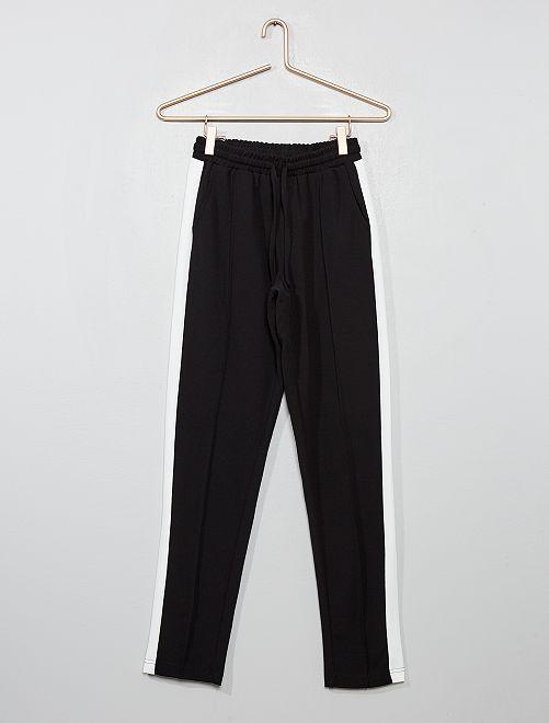 Pantalon fluide à bandes latérales blanches                                         noir
