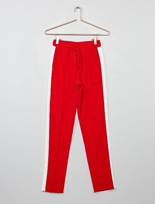 Pantalon fluide à bandes latérales blanches                                         rouge