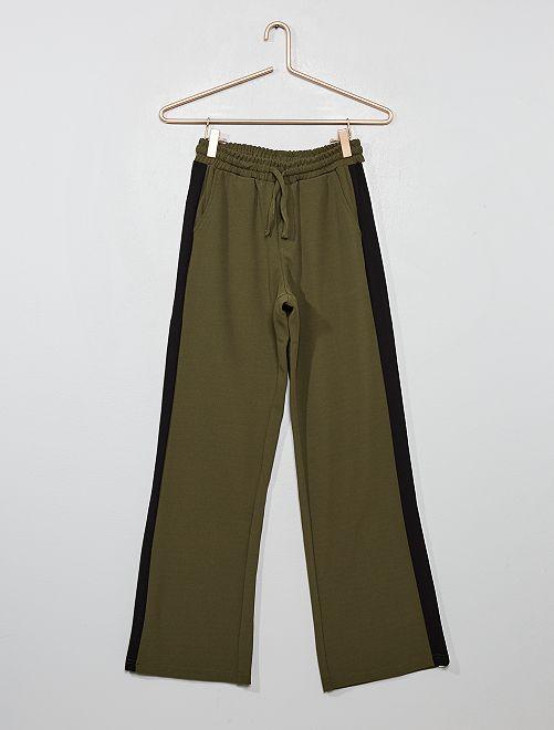 Pantalon fluide à bandes latérales                                         kaki