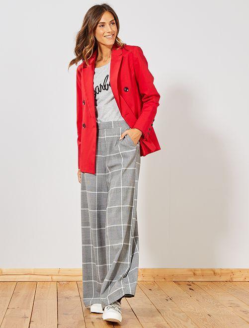 Pantalon fluide à carreaux                             gris Femme