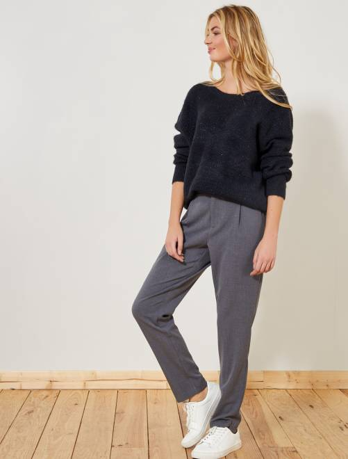 Pantalon fluide à pinces                                                                                                                 gris Femme