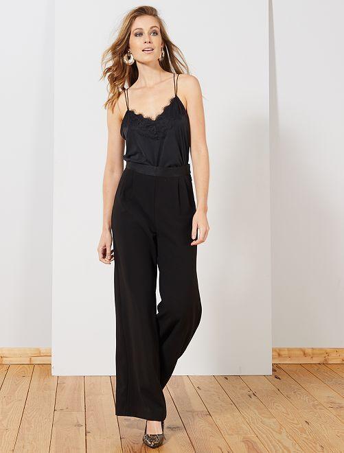 Pantalon fluide à pinces                             noir