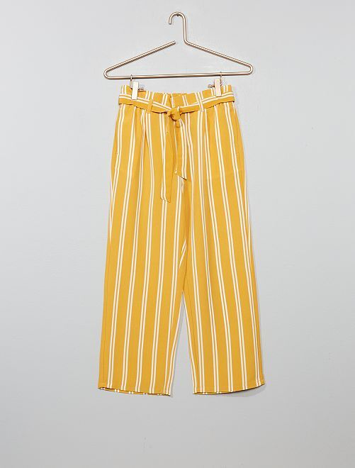 Pantalon fluide à rayures                                                     jaune