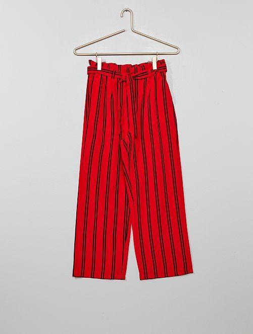 Pantalon fluide à rayures                                         rouge