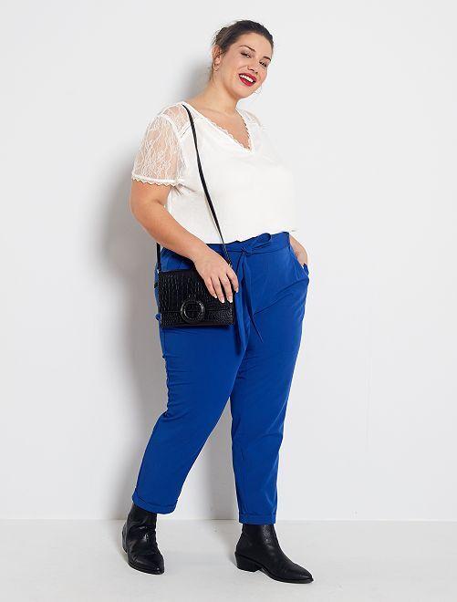Pantalon fluide avec ceinture                                         bleu