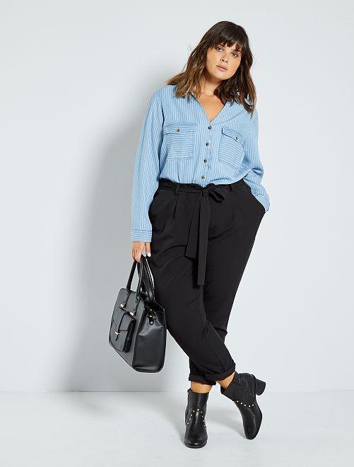 Pantalon fluide avec ceinture                                         noir