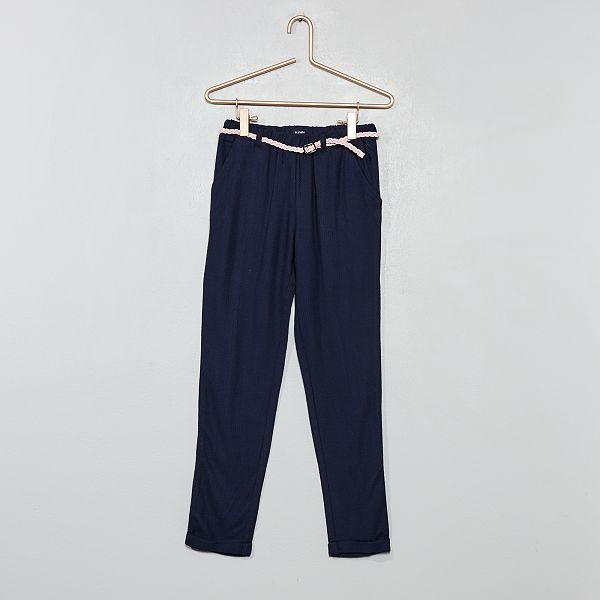 pantalon fluide blanc noir kiabi