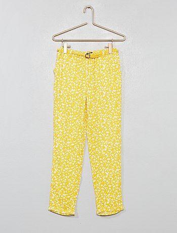 65910ca7762b Fille 3-12 ans - Pantalon fluide + ceinture - Kiabi