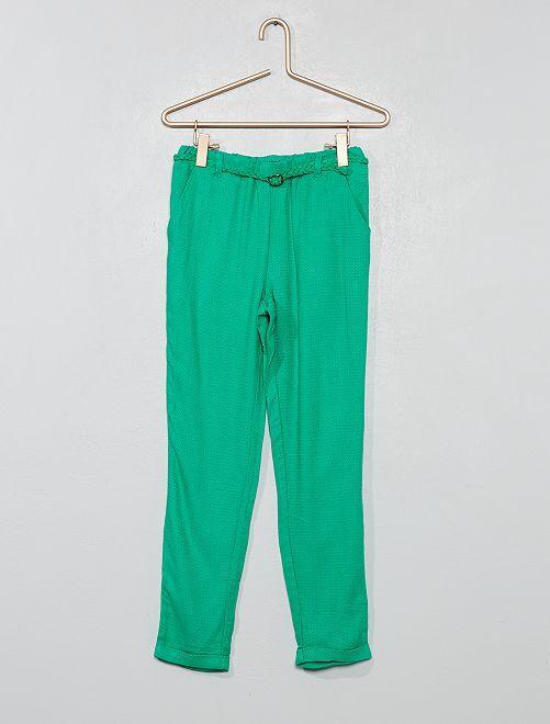 Pantalon fluide + ceinture                                                                             vert Fille