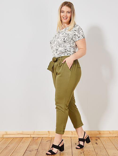 Pantalon fluide coupe carotte                             vert Grande taille femme
