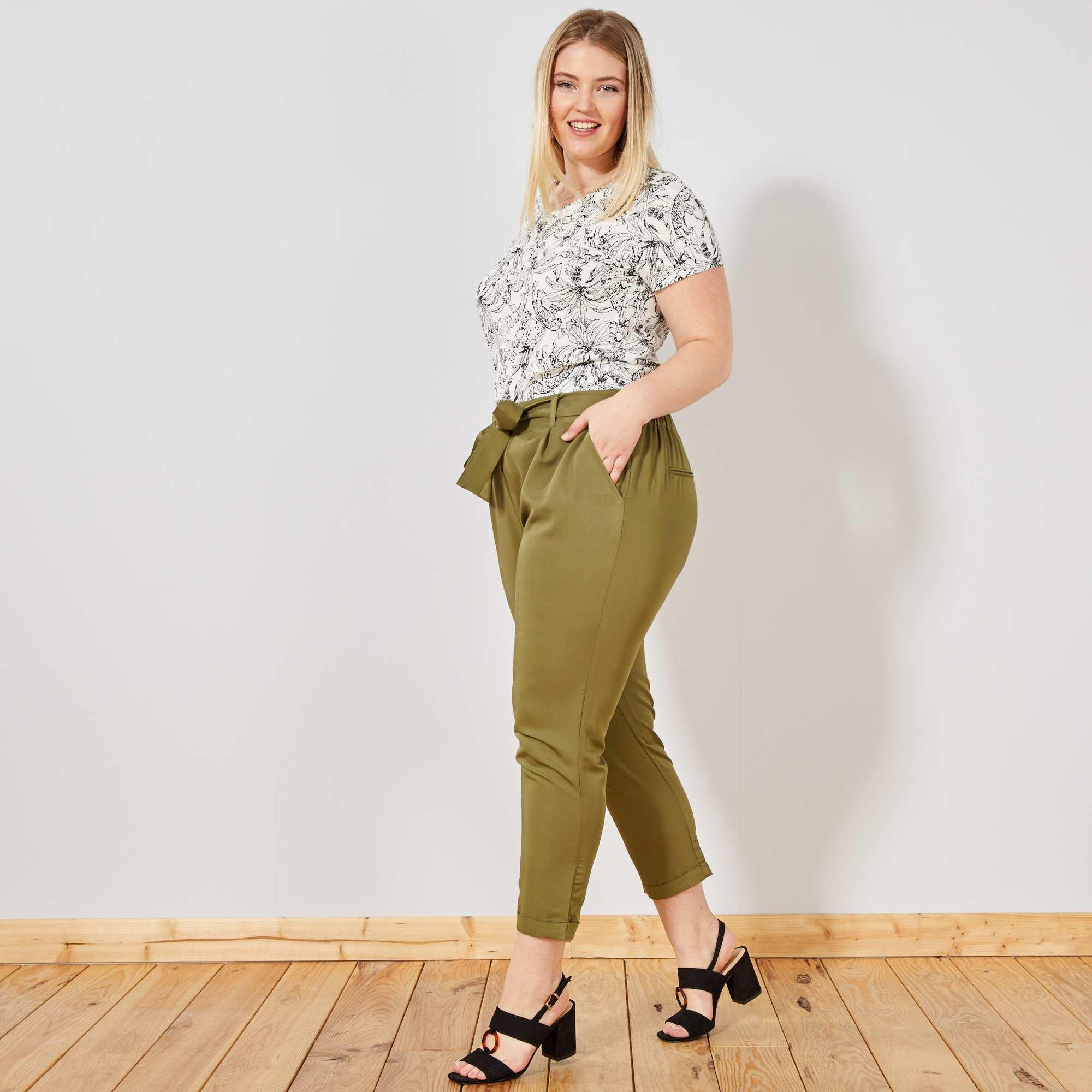 Pantalon fluide coupe carotte Grande taille femme - Kiabi - 12,00€