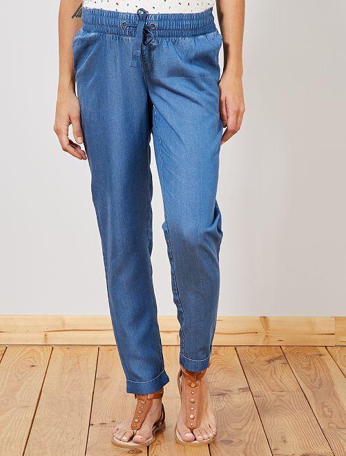 Pantalon fluide de maternité effet denim                             bleu Vêtement de grossesse