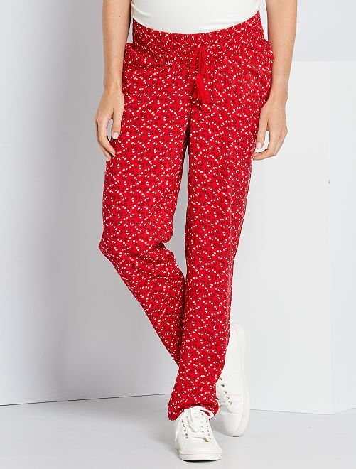 Pantalon fluide de maternité                                                                 rouge fleuri