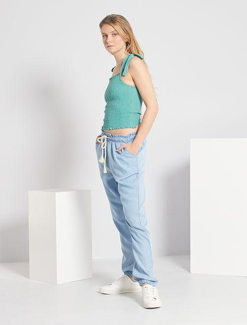 Pantalon fluide en lyocell                                         bleu