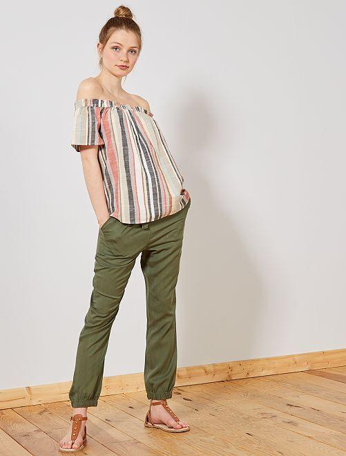 Pantalon fluide en lyocell                                                     kaki Femme
