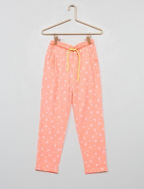 Pantalon fluide en maille gaufrée                                                     orange fluo