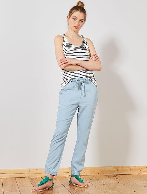 Pantalon fluide en tencel                             bleu clair Femme