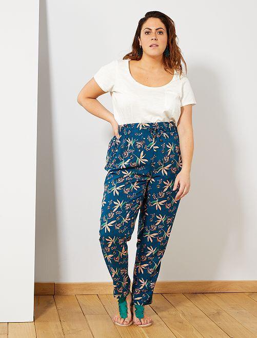 Pantalon fluide en viscose                                                                                                                                                     bleu fleurs Grande taille femme