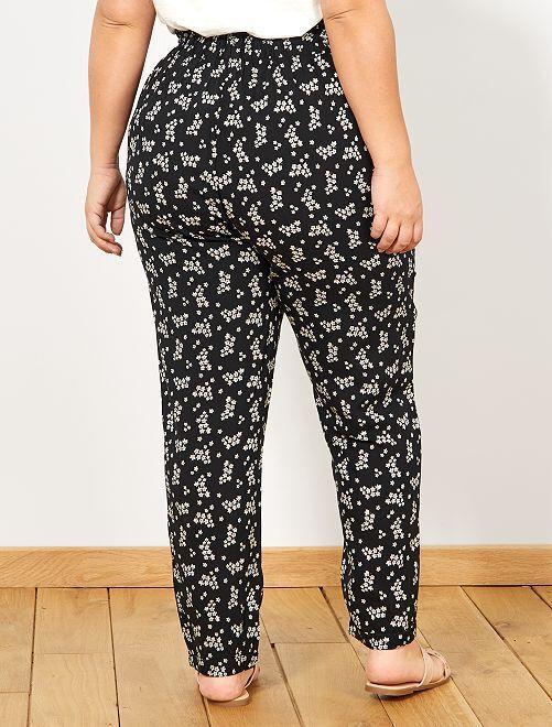 43c675f7542 Pantalon fluide en viscose Grande taille femme - noir fleurs - Kiabi ...
