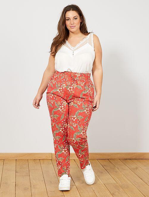 Pantalon fluide en viscose                                                                                                                                         rouge Grande taille femme