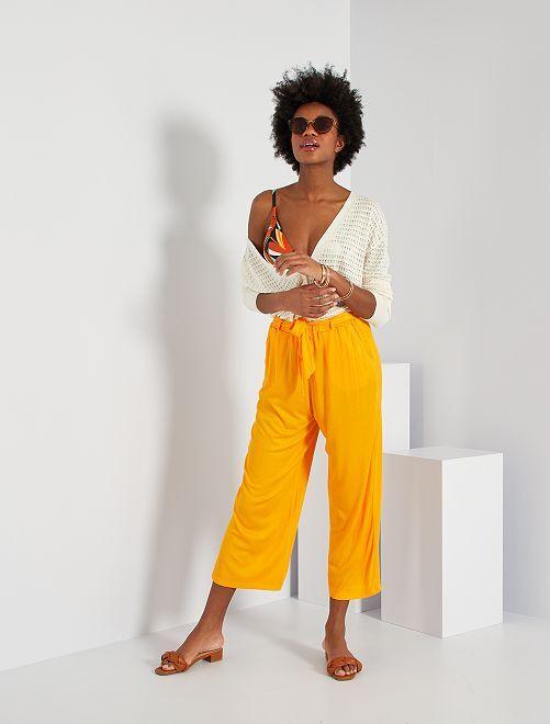 Pantalon fluide et texturé                                         orange
