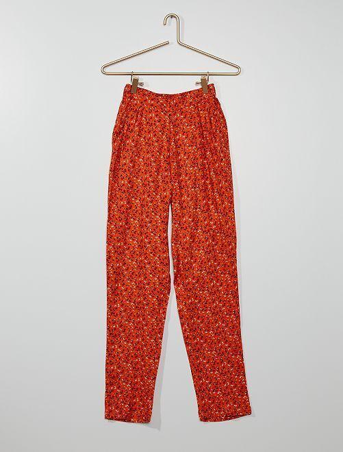 Pantalon fluide fleuri                             orange