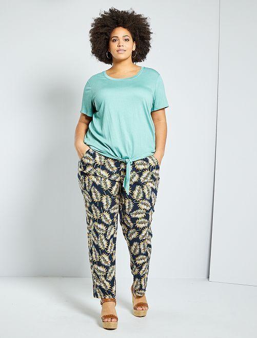 Pantalon fluide imprimé                                         bleu palmiers