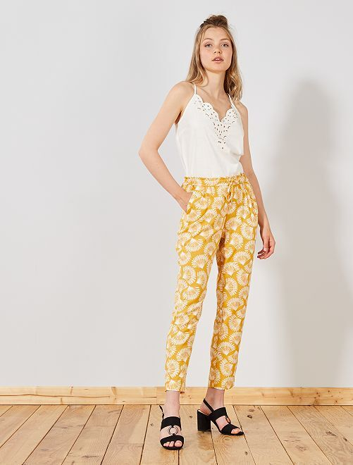 Pantalon fluide imprimé                                                     jaune Femme