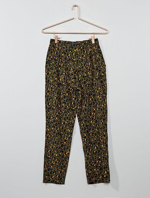 Pantalon fluide imprimé                                         kaki léopard Fille adolescente