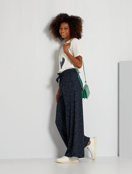 Pantalon fluide imprimé                                                                 noir/bleu