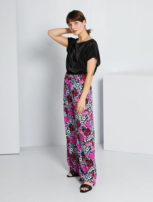 Pantalon fluide imprimé                                                                 noir/violet