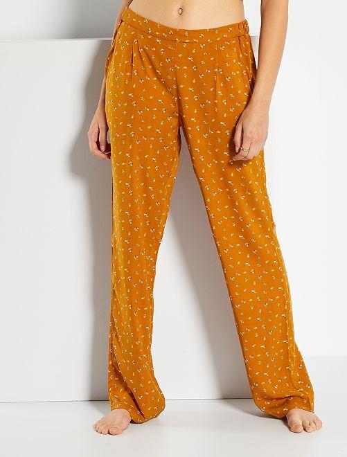 Pantalon fluide                                                                             moutarde fleurs