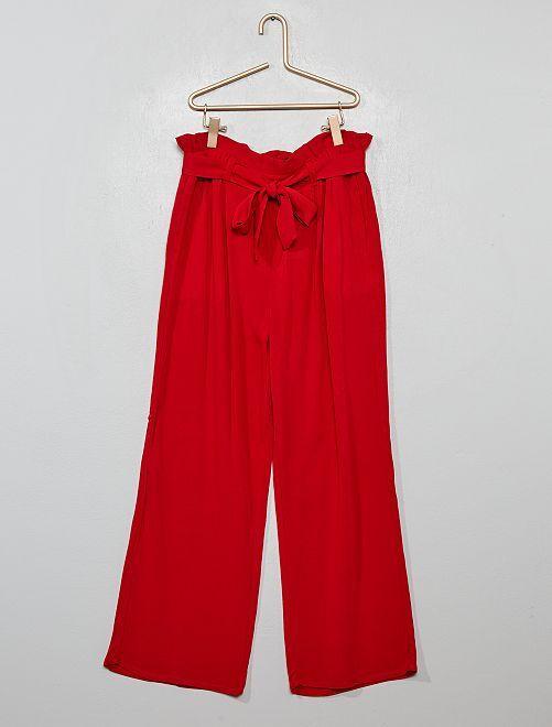 Pantalon fluide paperbag                                         rouge