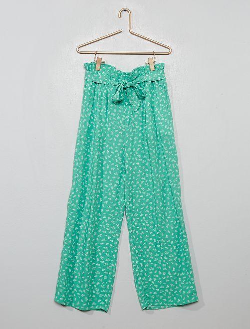 Pantalon fluide paperbag                                         vert
