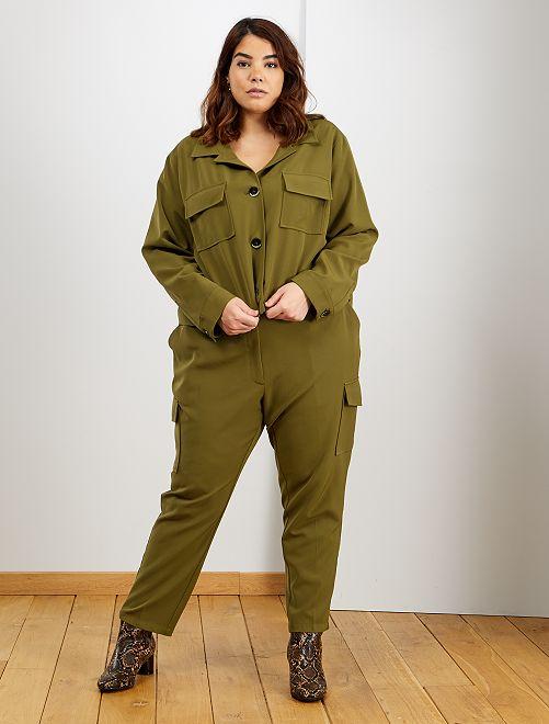 Pantalon fluide poches cargo                             brun