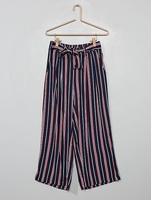 Pantalon fluide rayé                             bleu