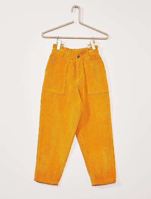Pantalon fluide velours côtelé                                                     JAUNE