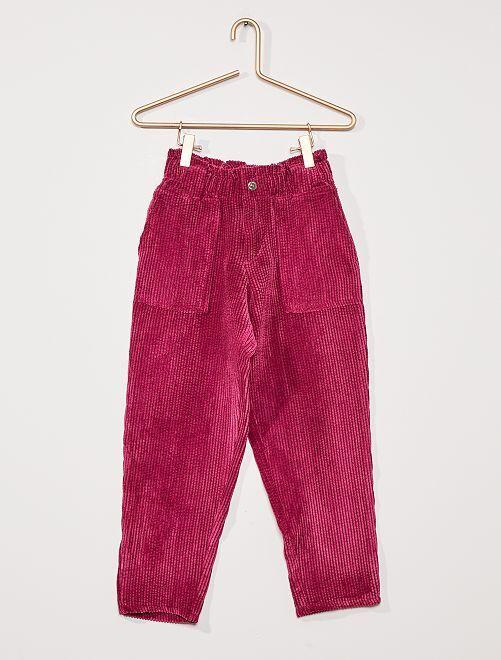 Pantalon fluide velours côtelé                                                     prune