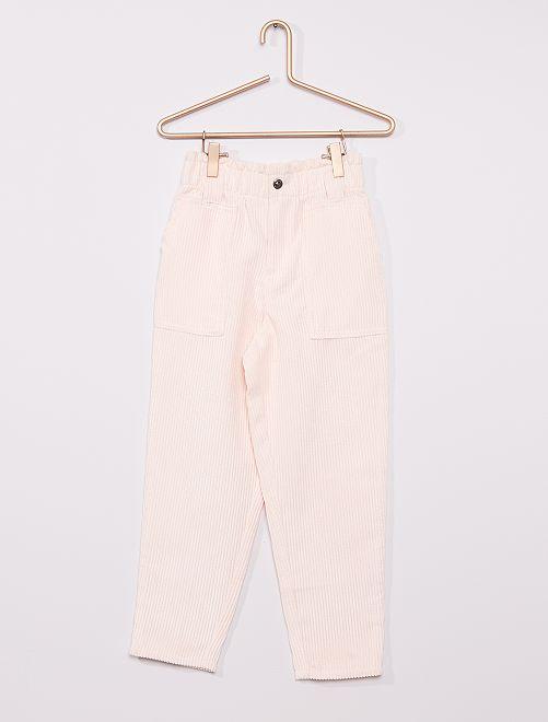 Pantalon fluide velours côtelé                                                     rose